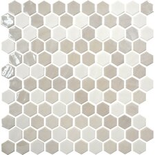 "Uptown Glass Hexagon 1"" x 1"" Mosaic Tile in Alabaster"