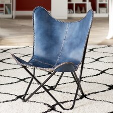 Sharon Leather Butterfly Lounge Chair by Zipcode Design
