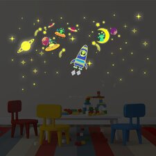 Galaxy, Moon and Stars Glow Wall Sticker