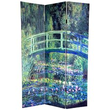 """72"""" x 48"""" Double Sided Works of Monet 3 Panel Room Divider I"""