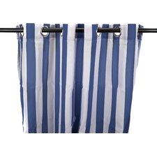 Striped Semi-Sheer Outdoor Grommet Single Curtain Panel