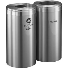RecyclePro Value Series Dual Unit 30 Gallon Multi-Compartments Trash & Recycling Bin