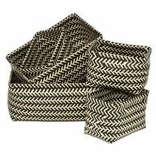 5 Piece Woven Storage Plastic Basket Set