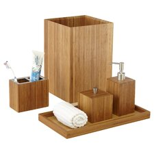 Defoe Bamboo 5-Piece Bathroom Accessory Set