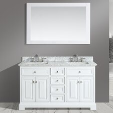 Rochelle 60 Double Bathroom Sink Vanity Set with Mirror by Urban Furnishings