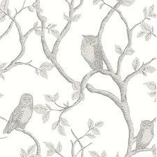 "Essentials 33' x 20.5"" Enchanted Forest Owl and Tree Wallpaper Roll"