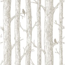 The Forest Grey 5.5m L x 52cm W Floral and Botanical Roll Wallpaper