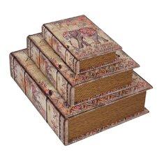 3 Piece Elephant Leather Book Box Set