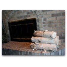 6 Piece Wood Fireplace Set