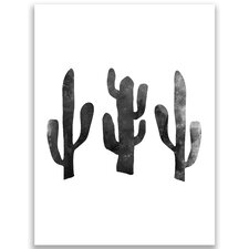Cactus Graphic Art Print in Black and White