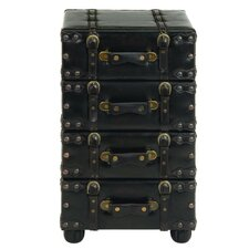 Aukerman Wood Leather Side Chest by Astoria Grand