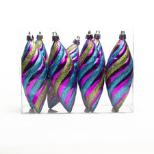 Double Top Ornament with Spiral Lines (Set of 8)