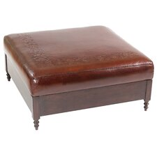 Super Jumbo Leather Ottoman by New World Trading