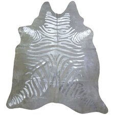 Print Brazilian Cowhide Silver Zebra Area Rug