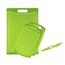 Kitchen Fans 3 Piece Cutting Board Set with Vegetable Knife