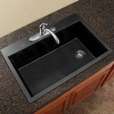"""Radius 33"""" x 22"""" Granite Single Bowl Drop-in Kitchen Sink"""