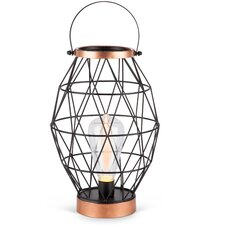 """Oblong Metal Caged Outdoor 11"""" Table Lamp"""