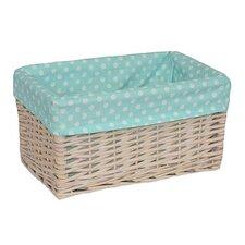 Storage Willow Basket with Spotty Lining