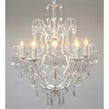 Clemence 5-Light White Crystal Chandelier with Chain and Wire