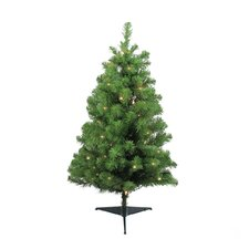 """36"""" Green Fir Artificial Christmas Tree with 35 Clear Lights with Stand"""