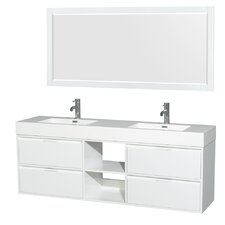 Daniella 72 Double Glossy White Bathroom Vanity Set with Mirror by Wyndham Collection