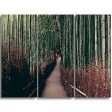 Bamboo Grove in Arashiyama Panorama - 3 Piece Graphic Art on Wrapped Canvas Set