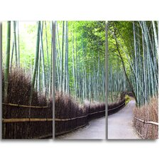 Kyoto Bamboo Forest Pathway - 3 Piece Graphic Art on Wrapped Canvas Set