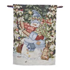 Fibre Optic Wrapped Up Snowman Tapestry