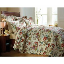 Birds and Fower Quilted Bedspread Set
