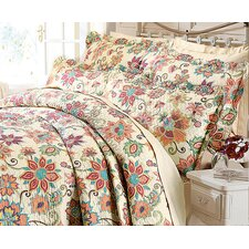 Indian Flower Quilted Bedspread Set