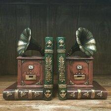 Vintage Gramophone Shelf Tidy Bookends (Set of 2)