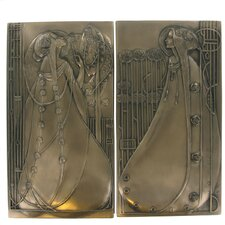 2 Piece Mackintosh Style Art Deco Cold Cast Bronze Wall Décor Set