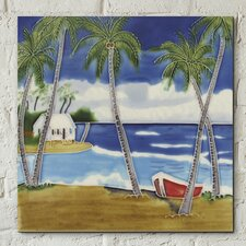 Wish You Were Here Boats on the Shore Décorative Ceramic Picture Tile Wall Décor