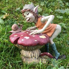 Pixie Talking To Snail on Mushroom Outdoor Garden Statue