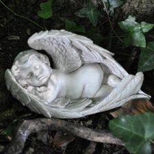 Vintage Cherub Lying Down Asleep Wrapped in Wings Statue