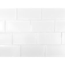 """Frosted Elegance 3"""" x 6"""" Glass Peel & Stick Subway Tile in White"""
