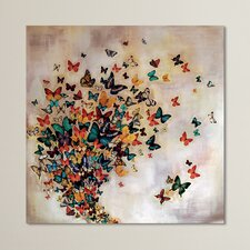 'Butterflies on Pale Ochre' by Lily Greenwood Graphic Art Print on Canvas