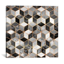 Black and White Cubes Graphic Art on Wrapped Canvas