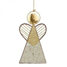 Angel with Heart Wings and Capiz Shell Shaped Ornament (Set of 6)