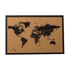 World Map Wall Mounted Bulletin Board 39.5cm H x 59cm W