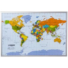World Wall Mounted Bulletin Board in French 60cm H x 90cm W