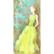 """Green Satin Gown"" by Kristina Bass Bailey Framed Painting Print on Canvas"