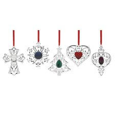 5 Piece Bejeweled Silver-plated Holiday Ornament Set