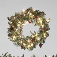 60cm Lighted Berry and Cone Wreath