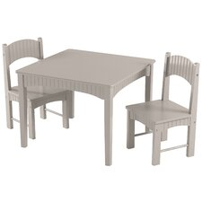 Yvette Kids 3 Piece Square Table and Chair Set