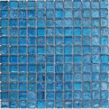 30cm x 30cm Hammered Glass Mosaic Tile in Blue