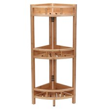 Bamboo Slatted 35 H 3 Shelf Corner Unit by Household Essentials
