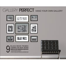 9 Piece Wood Matted Picture Frame Set
