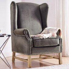 Litvak Velvet Wingback Chair by House of Hampton