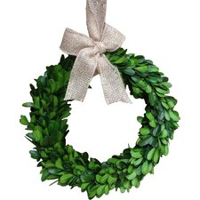 "8"" Preserved Boxwood Wreath with Burlap Bow"